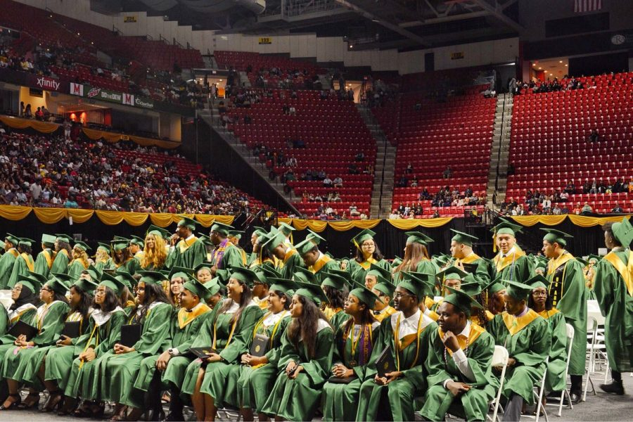 In+previous+years%2C+like+the+Class+of+2018+pictured+above%2C+Parkdale+has+held+their+graduation+ceremonies+at+the+XFinity+Center%2C+which+will+change+this+year+due+to+COVID-19.