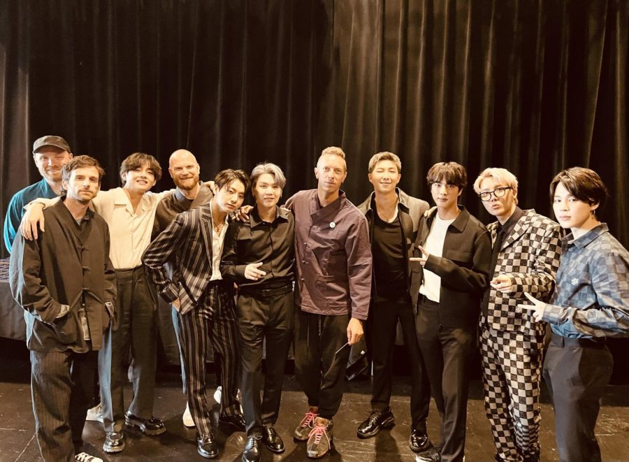 International+superstar+bands+Coldplay+and+BTS+teamed+up+to+bring+fans+across+the+world+a+new+song+with+an+accompanying+documentary+to+remind+them+of+the+power+of+love.